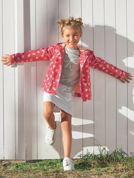 """Maedchenkleidung-Lookbook-Outfit """"Regenfest in Pink"""""""