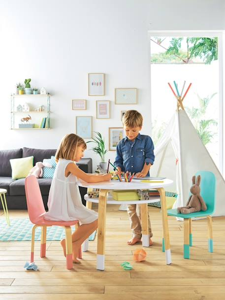 vertbaudet runder spieltisch f r kinder in wei natur. Black Bedroom Furniture Sets. Home Design Ideas