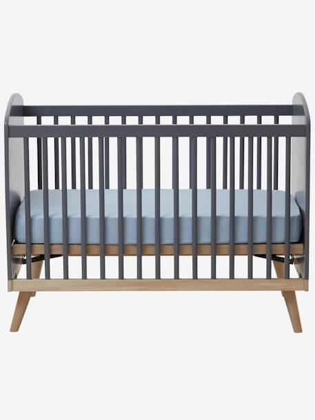 vertbaudet babybett konfetti mit h henverstellbarem lattenrost in grau. Black Bedroom Furniture Sets. Home Design Ideas