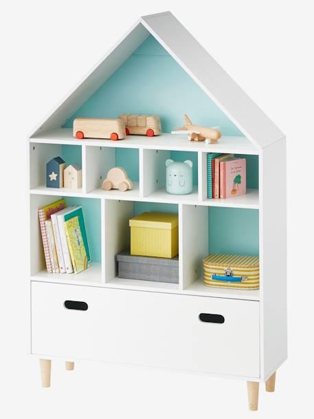 vertbaudet regal in hausform in weiß/rosa/blau, Hause deko