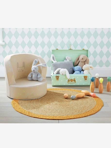 vertbaudet runder kinderteppich aus jute in natur gelb. Black Bedroom Furniture Sets. Home Design Ideas