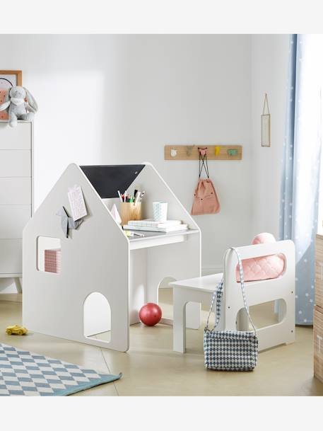 vertbaudet set aus schreibtisch und stuhl f r kleinkinder in wei grau. Black Bedroom Furniture Sets. Home Design Ideas