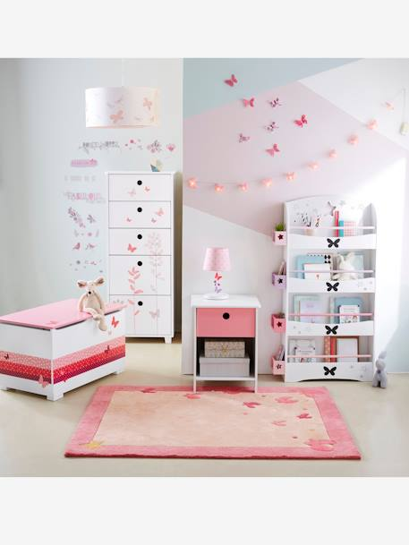 vertbaudet kinderzimmer teppich schmetterlinge in rosa. Black Bedroom Furniture Sets. Home Design Ideas