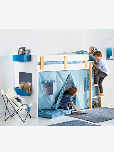 vertbaudet bettvorhang f r kinder hochbett in blau bedruckt. Black Bedroom Furniture Sets. Home Design Ideas