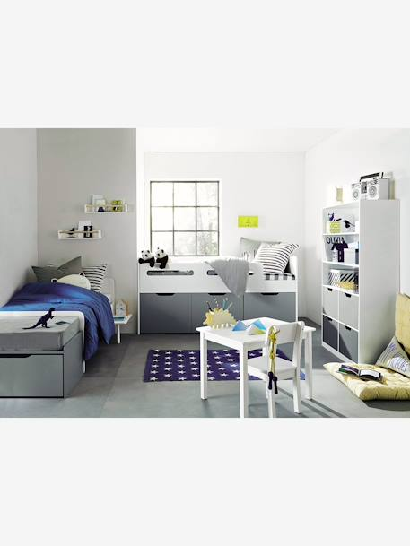 vertbaudet b cherregal passe f r kinderzimmer in wei grau. Black Bedroom Furniture Sets. Home Design Ideas