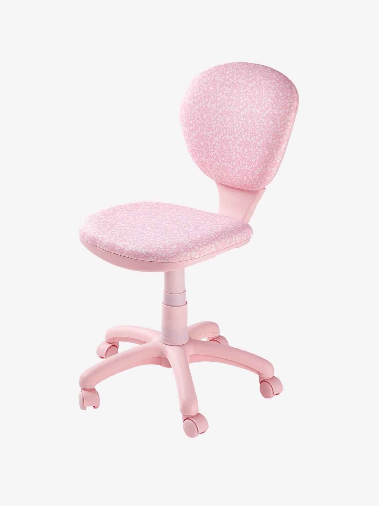 vertbaudet verstellbarer schreibtischstuhl mit rollen in rosa/blumen - Schreibtischstuhl Designs Lernen Kinderzimmer