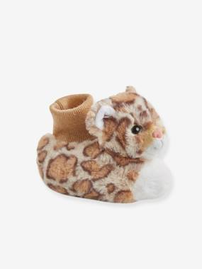 Plüschpantoffeln für Baby Jungen beige leopard Gr. 22/23 von vertbaudet