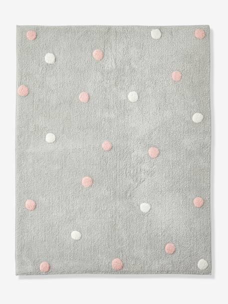 Vertbaudet Kinder-Teppich ,,Konfetti in grau bedruckt