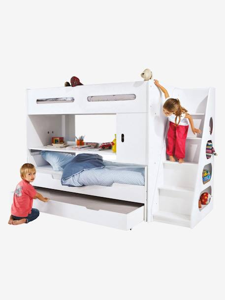 vertbaudet treppe mit regal combibed in wei. Black Bedroom Furniture Sets. Home Design Ideas