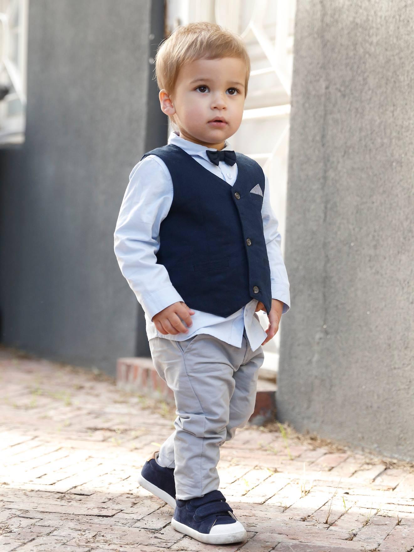 Festliches Jungen Baby Set Hemd, Hose, Weste & Fliege   blau/nachtblau/grau