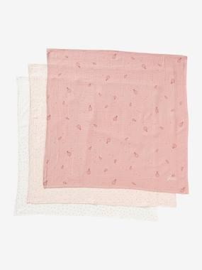 3er-Pack Wickeltücher, personalisierbar weiß herzen/rosa/rosa von vertbaudet