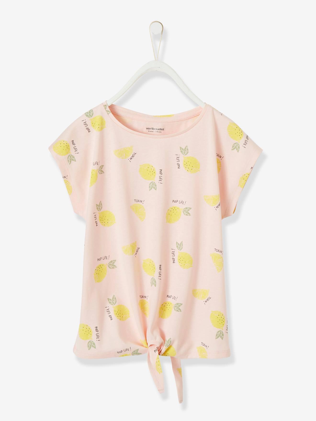 Mädchen T-Shirt Oeko Tex® rosa zitronen Gr. 92 von vertbaudet 3611653302457