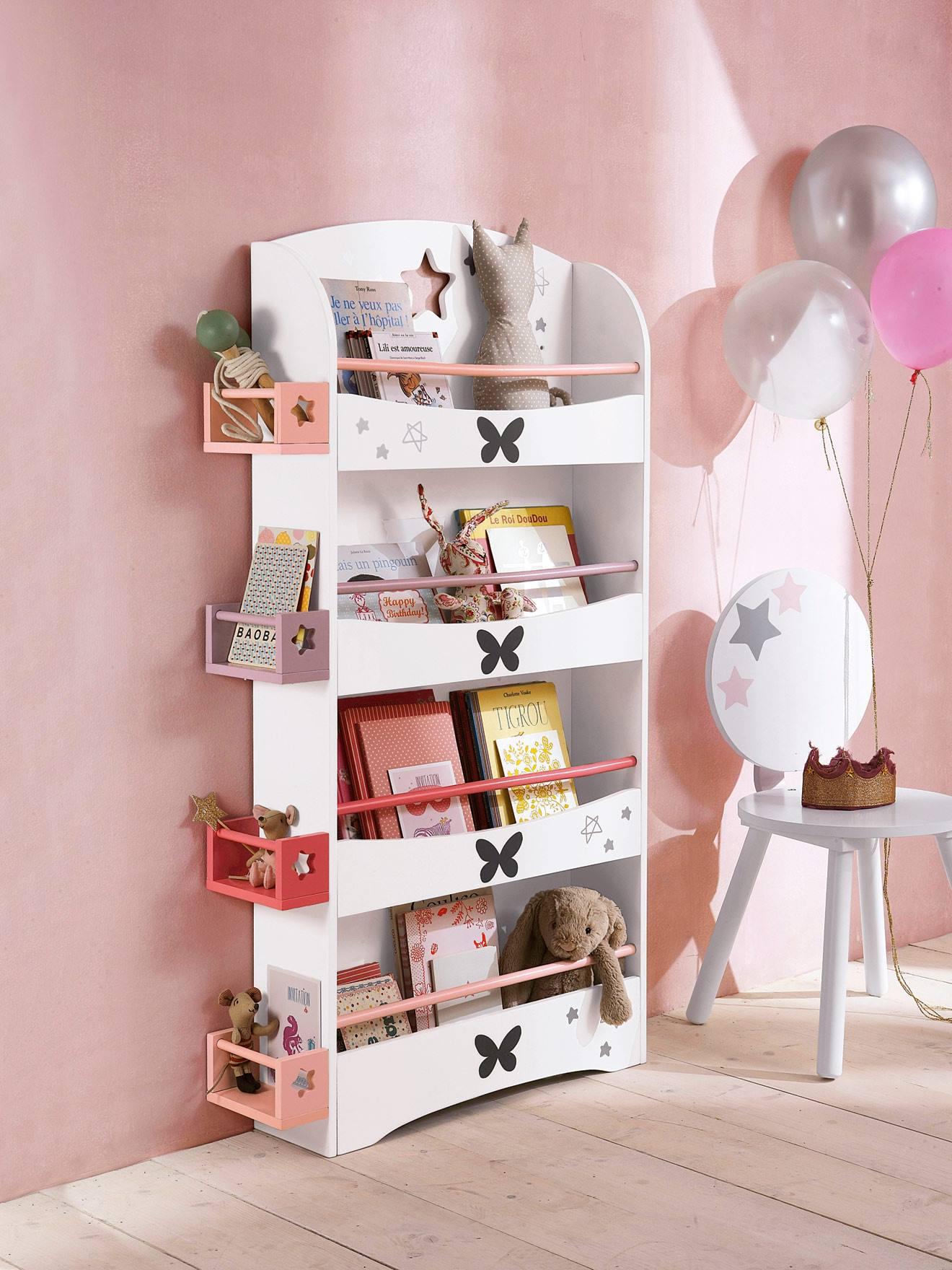 Vertbaudet Bücherregal mit Schmetterlingen in weiß