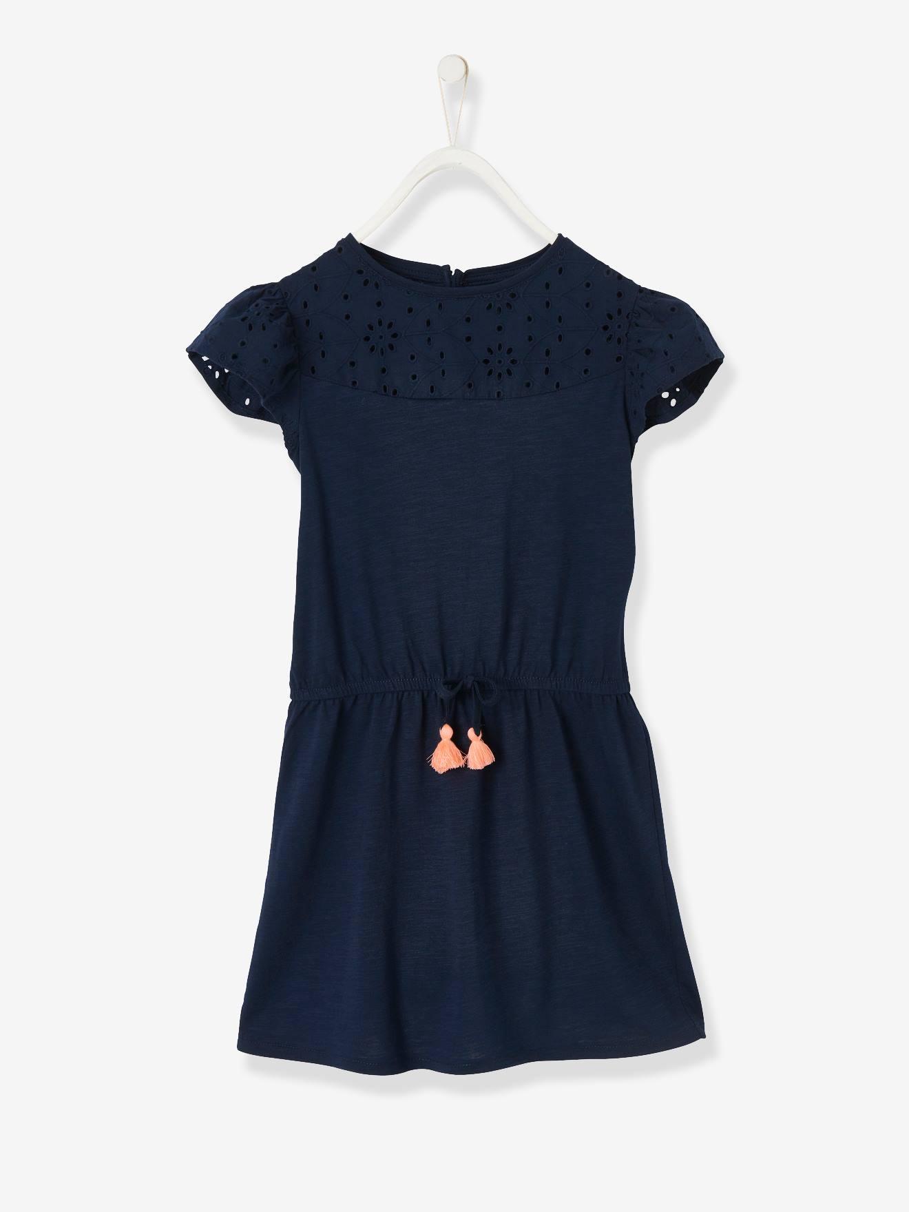 Mädchen Kleid mit Lochstickerei   nachtblau
