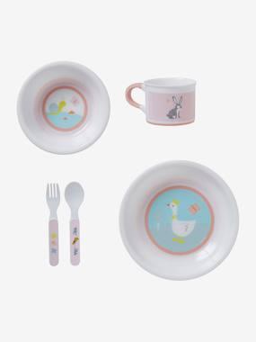 Baby Esslern-Geschirr, 5 Teile rosa gänse von vertbaudet