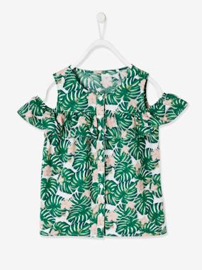 Mädchen Bluse, schulterfrei weiß/grün palmenblätter Gr. 86 von vertbaudet