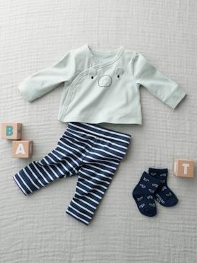 Wickel-Shirt & Leggings für Neugeborene grün/nachtblau Gr. 44 von vertbaudet