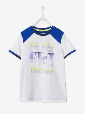 Jungen Sport T-Shirt, Funktionsmaterial weiß/blau Gr. 86 von vertbaudet