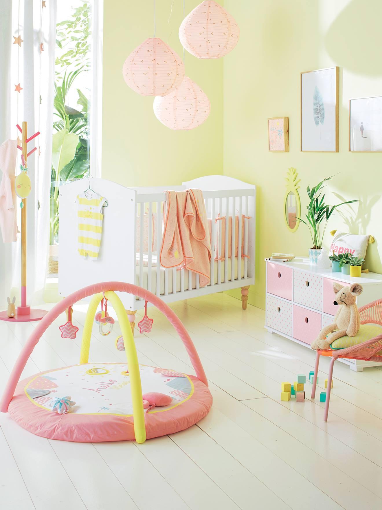 Vertbaudet Lampenschirm für Kinderzimmer in rosa bedruckt