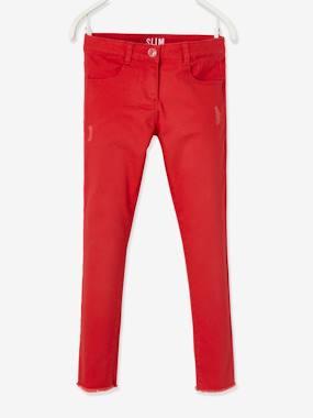 Slim-Fit-Hose mit Used-Details rot Gr. 128 von vertbaudet