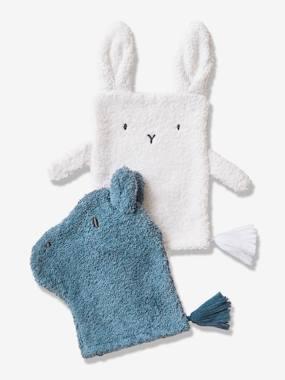 2er-Pack Kinder Waschhandschuhe blau/weiß von vertbaudet