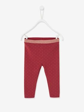 Leggings für Baby Mädchen, Glitzer bordeaux Gr. 62 von vertbaudet