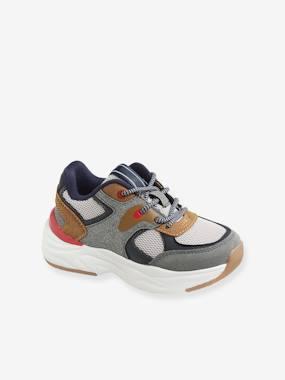 Jungen Sneakers, Running-Style, Material-Mix taupe Gr. 26 von vertbaudet