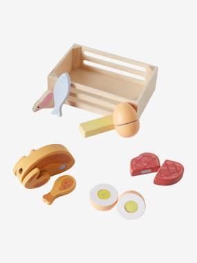 Kiste mit Lebensmitteln aus Holz von vertbaudet