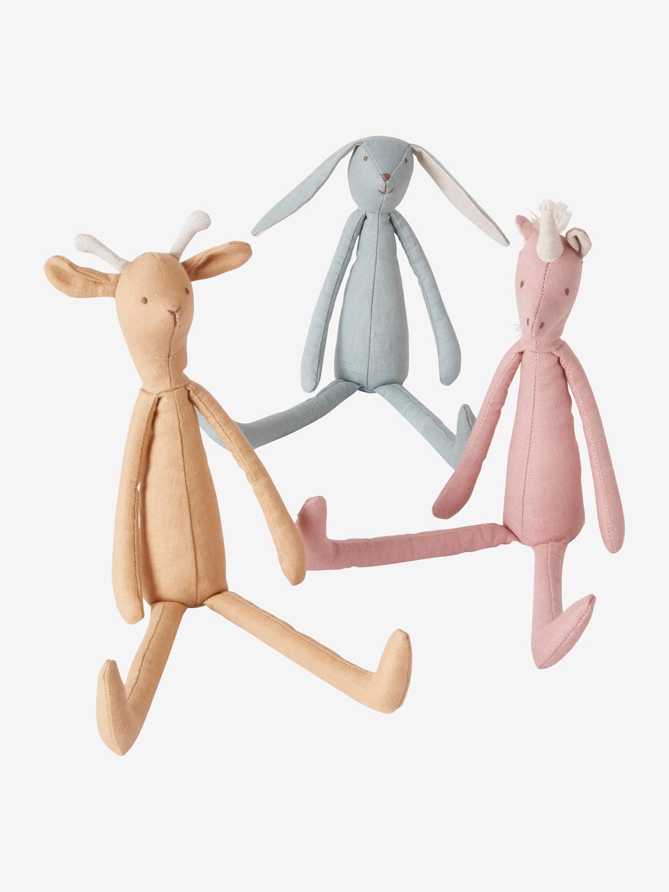3er-Set Stofftiere Giraffe, Hase & Einhorn aus Leinen von vertbaudet 3611653564664