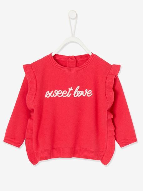 Vertbaudet M/ädchen Baby Pullover Jacquard-Herzen