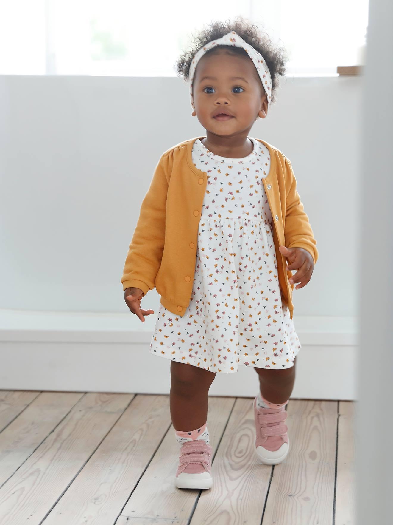 madchen baby-set: kleid, strickjacke & haarband - senfgelb+wollwei? geblumt