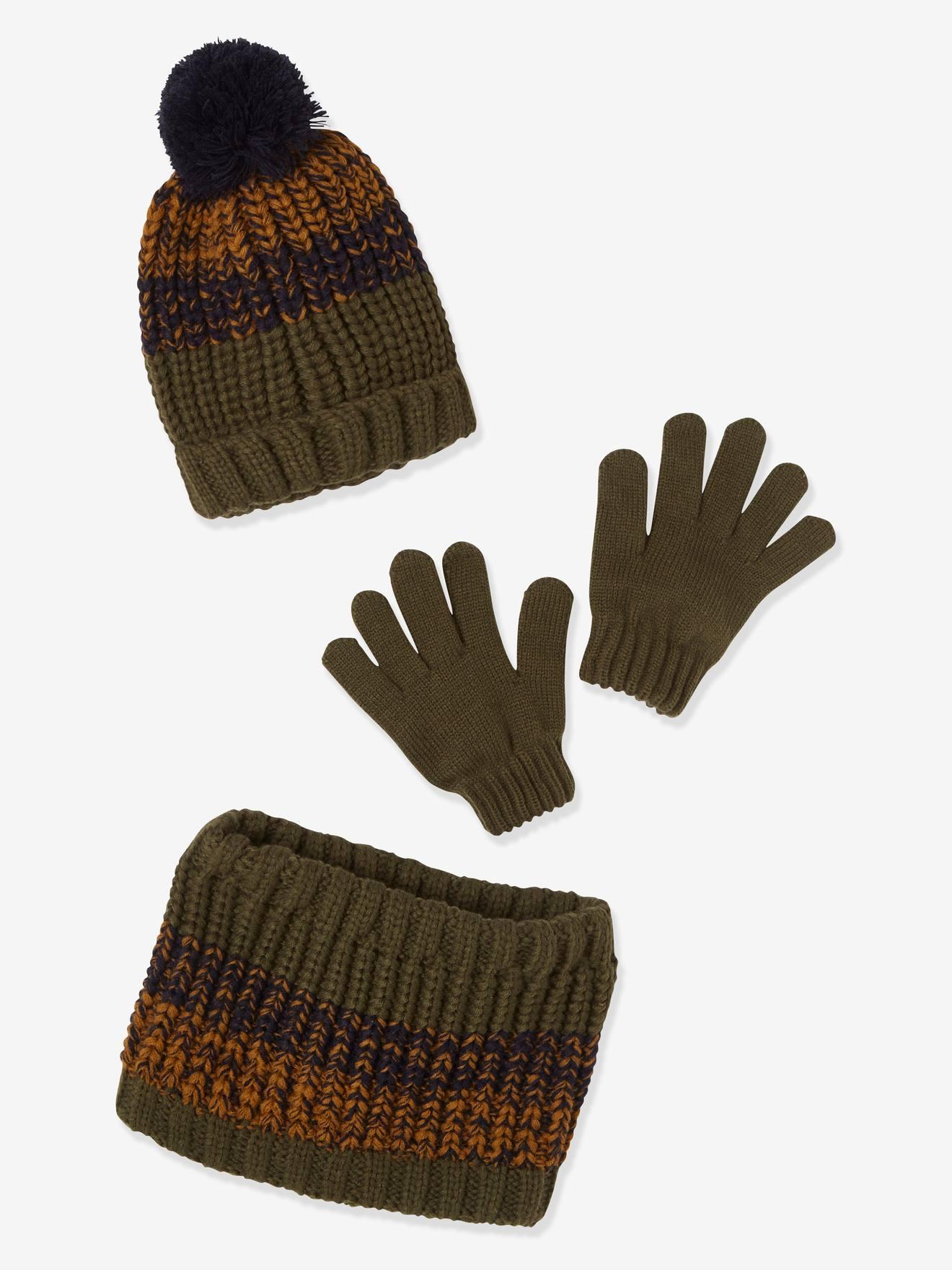 ANIMQUE Winterm/ütze Schal Handschuhe Set f/ür Jungen M/ädchen 0-8 Jahre Warm Fleece Gef/üttert Baby Kinder Strickm/ütze Beanie Halst/ücher F/äustlinge Oktopus