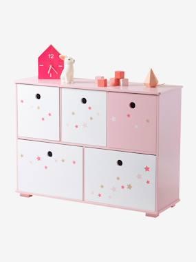 vertbaudet-kinder-sideboard-mit-5-aufbewahrungsboxen-rosa-sterne
