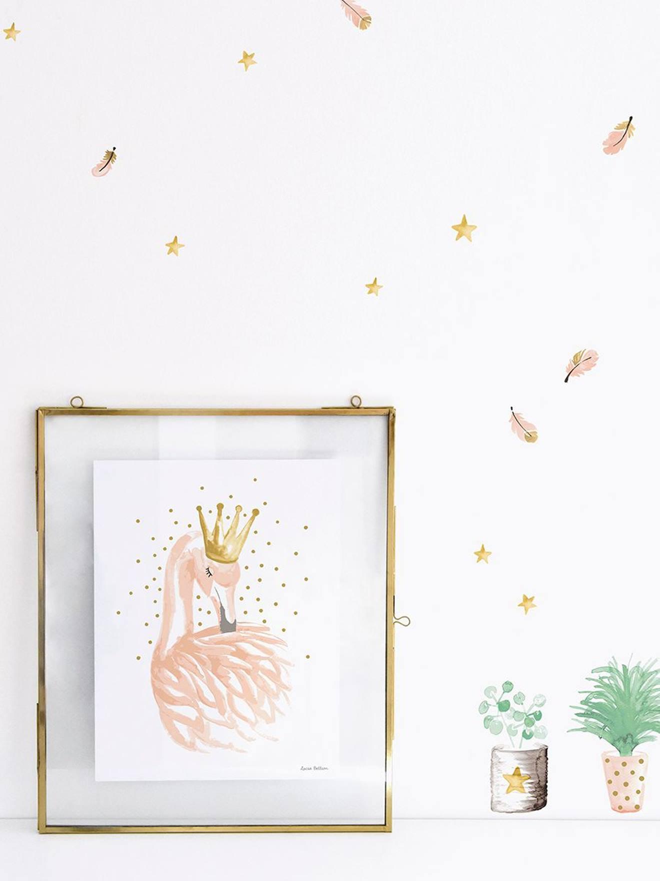 Kinderzimmer Wandsticker LILIPINSO rosa federn