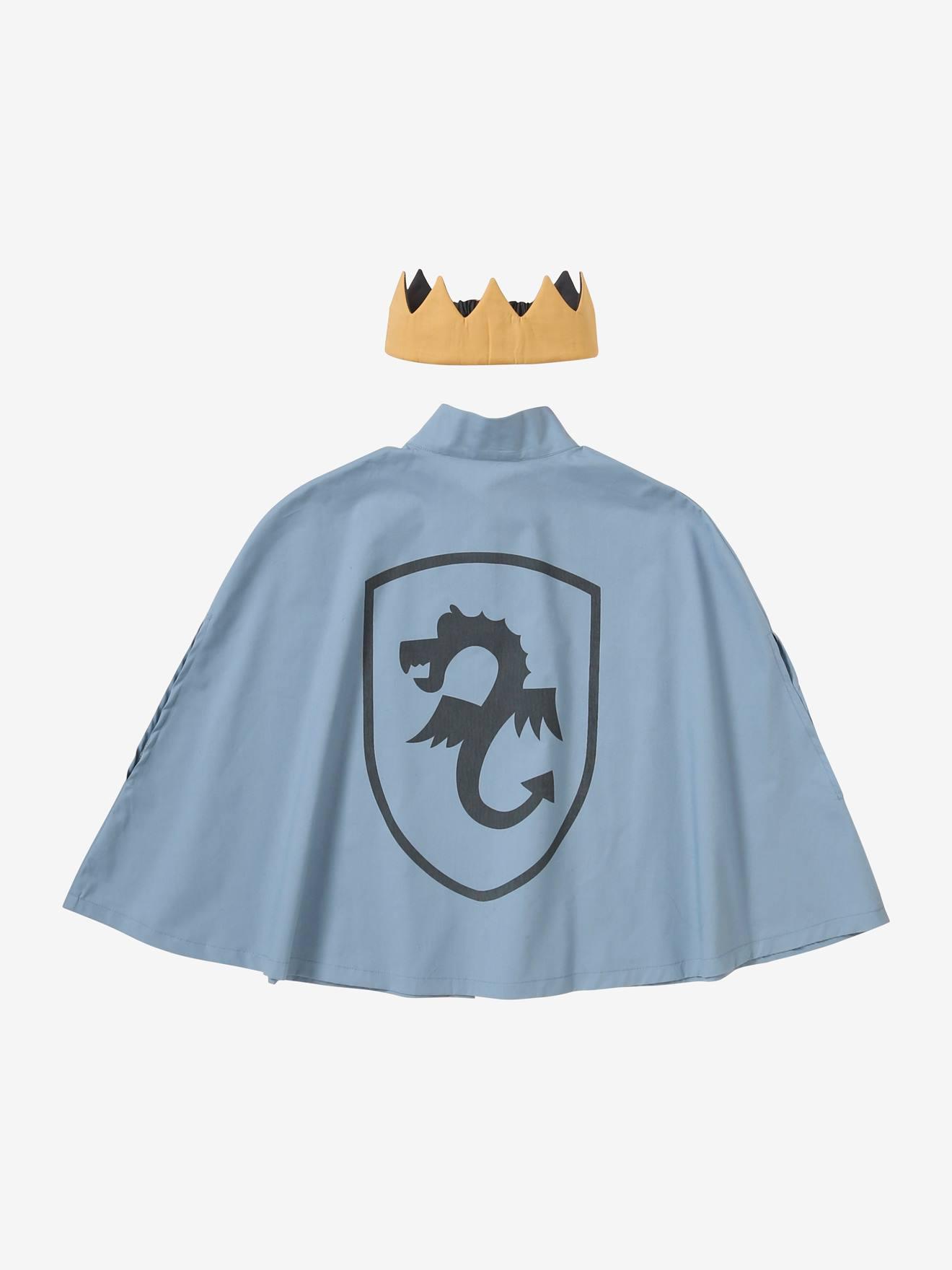 Ritter-Kostüm: Umhang & Krone blau von vertbaudet