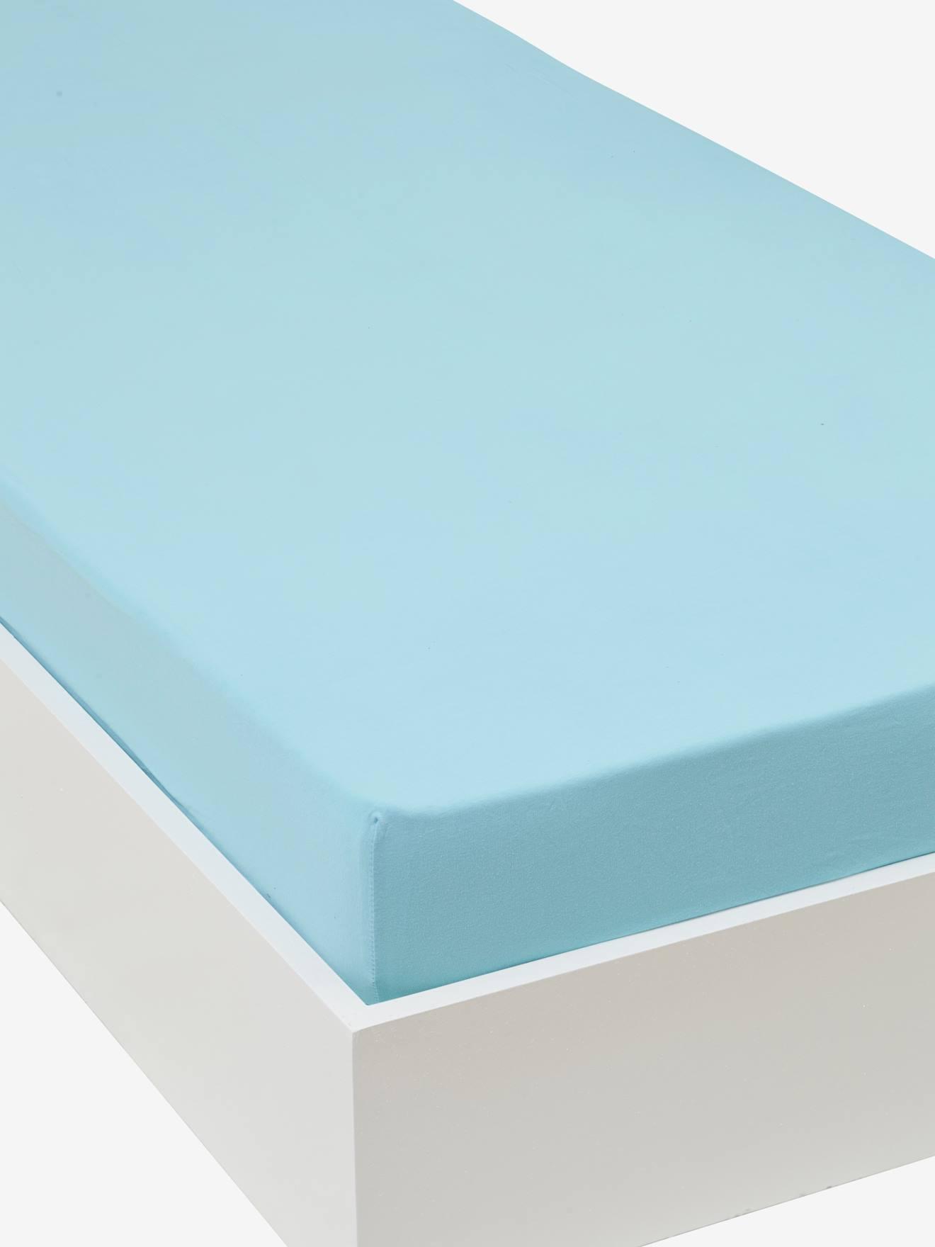VERTBAUDET Jersey-Spannbettlaken für Kinderbetten blau Gr. 90x140