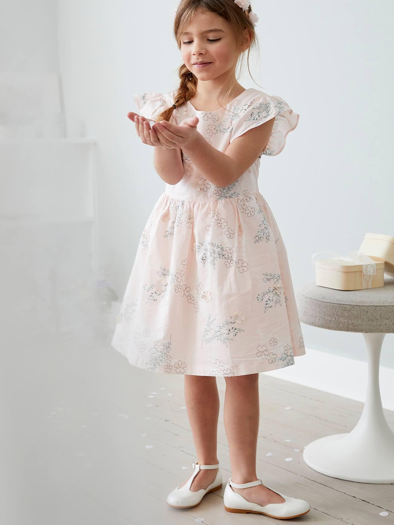 Festliches Mädchen Kleid, 9D Blumen   zartrosa bedruckt
