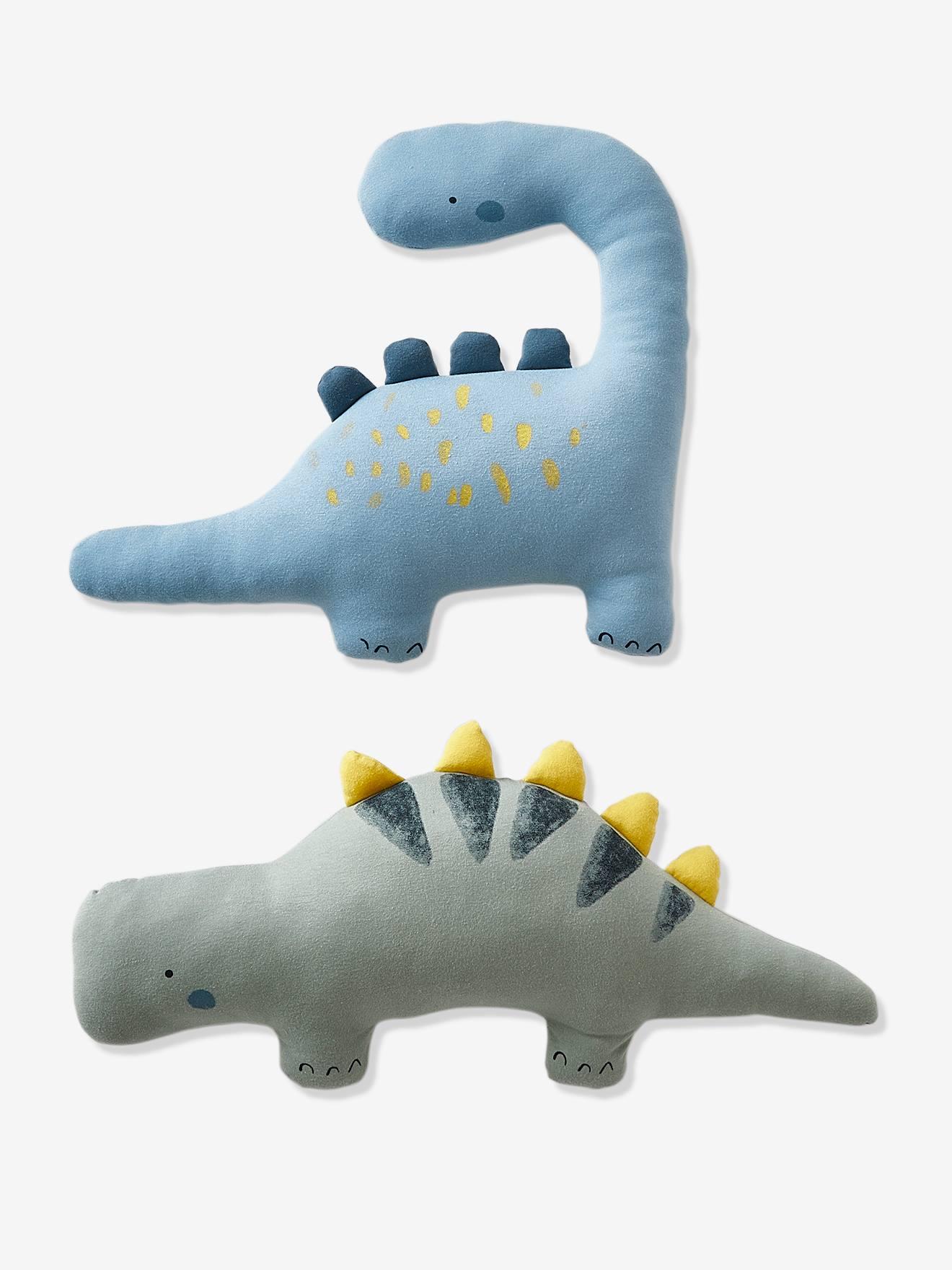 """2er-Set Kinder Kissen """"Kleiner Dino"""" khaki/blau von vertbaudet"""