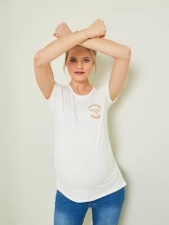 Schwangerschafts-T-Shirt kurz/ärmelig seitlich ger/üscht Bhome Umstandsshirt