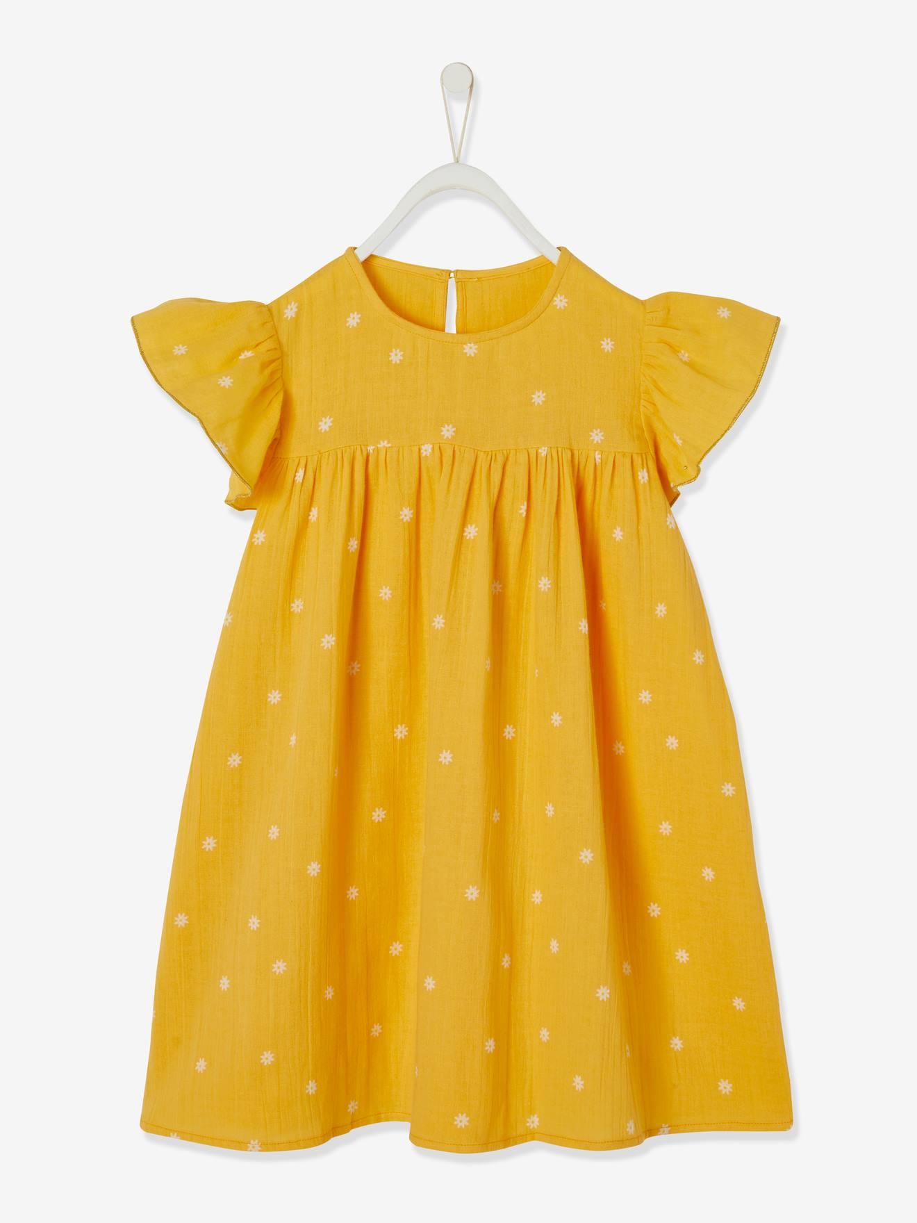 Mädchen Kleid mit Schmetterlingsärmeln, Musselin   gelb geblümt