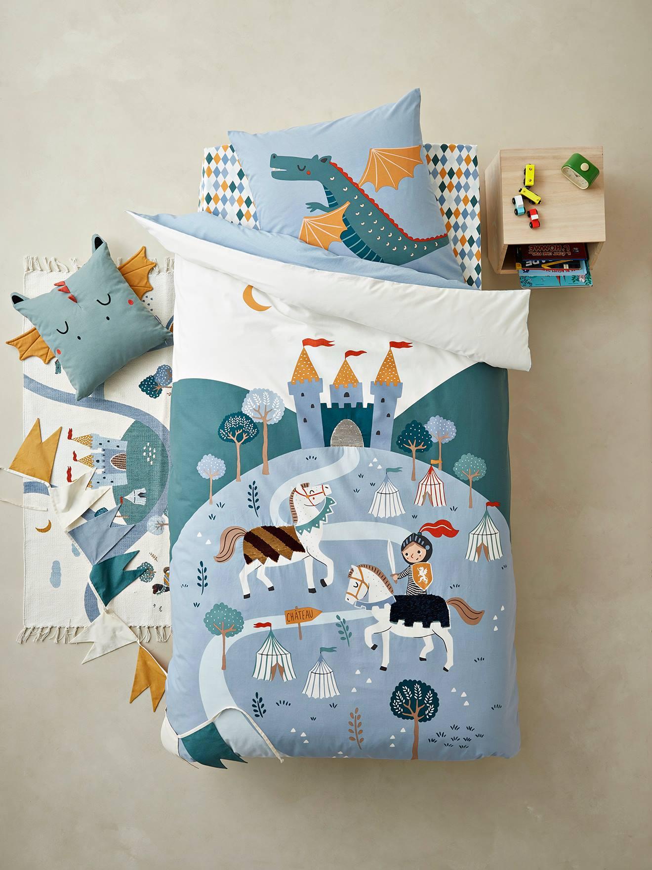 """Kinder Bettwäsche-Set """"Ritter"""" blau/mehrfarbig Gr. 140x200 - 50x75 von vertbaudet"""