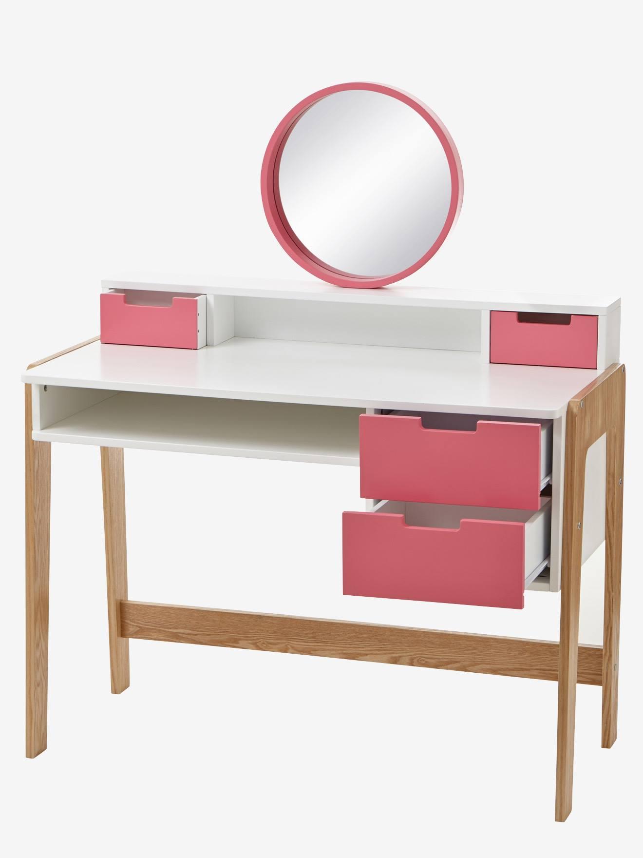 Mädchen Frisier- & Schminktisch, Schreibtisch weiß/rosa/natur von vertbaudet 3611652206091
