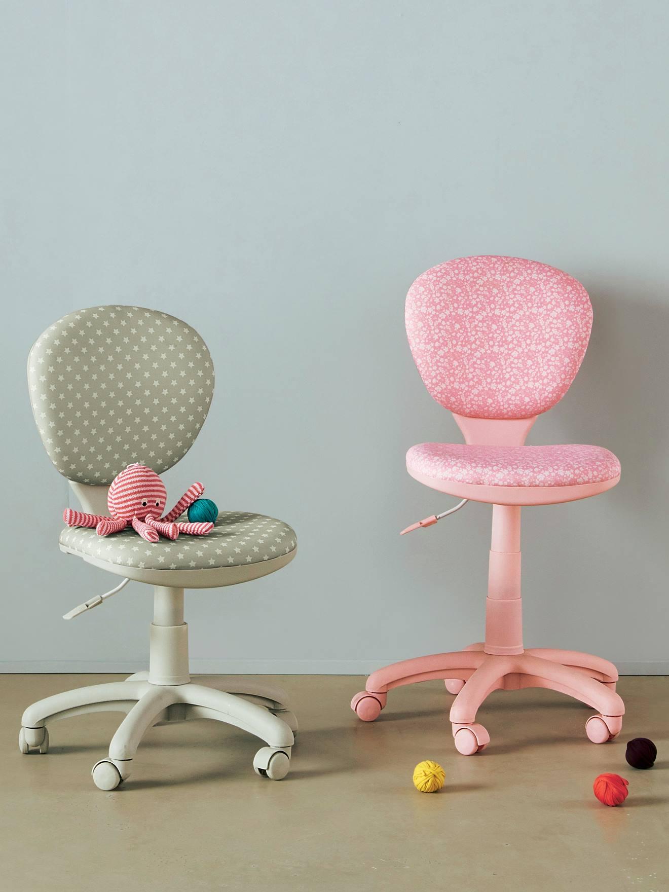 Vertbaudet Verstellbarer Schreibtischstuhl mit Rollen in rosa blumen