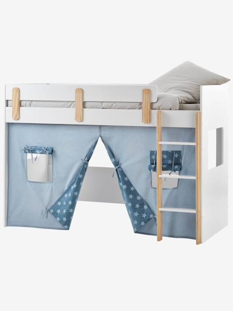 Vertbaudet Bettvorhang Fur Kinder Hochbett In Blau Bedruckt
