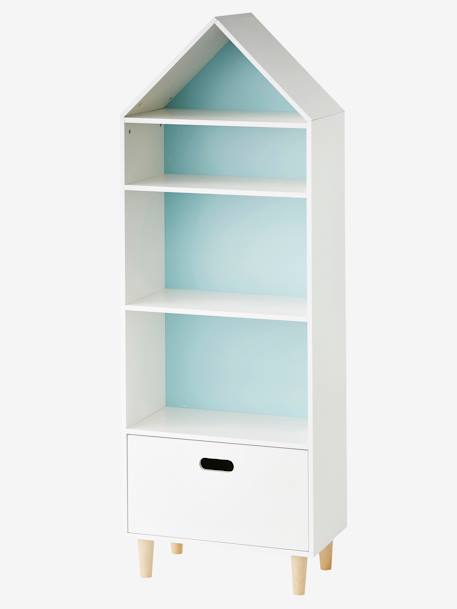 vertbaudet kinder regalschrank haus 5 f cher in wei rosa blau. Black Bedroom Furniture Sets. Home Design Ideas