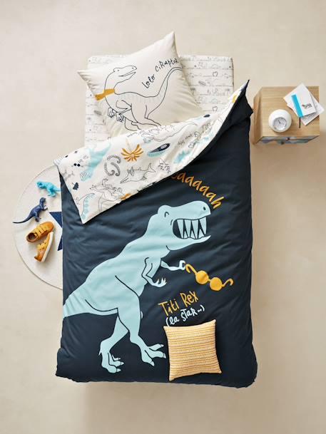 Vertbaudet Bettwäsche Set Für Kinder Dinoland In Tinte Bedruckt