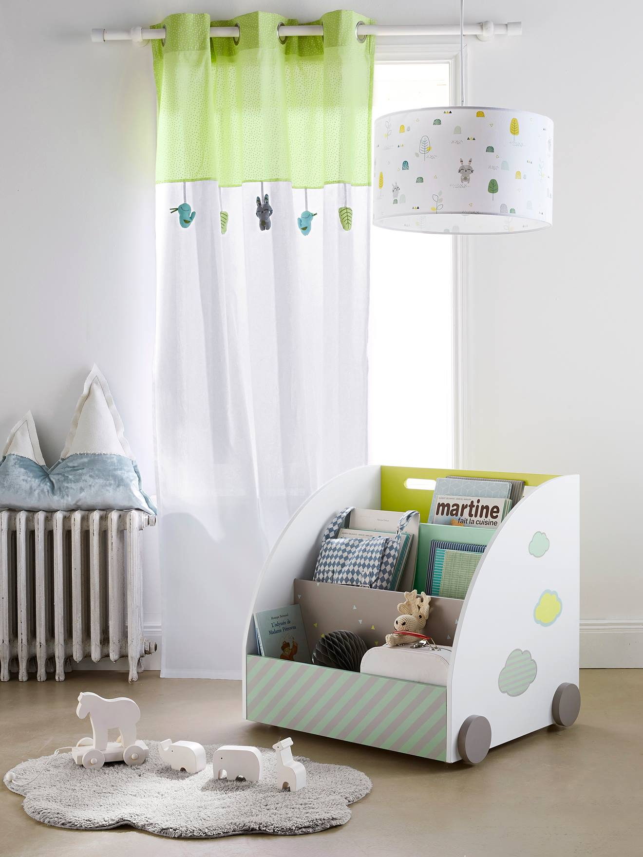 Leichter Vorhang Für Babyzimmer   WEIß/GRüN   2