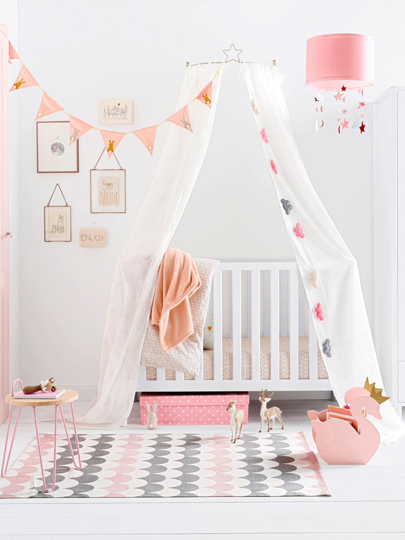 Vertbaudet Kinderzimmer-Teppich, reine Baumwolle in weiß/erika