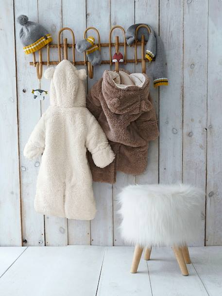 Baby Overall/Ausfahrsack - rosa+taupe+wollweiß - 12