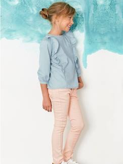 Kindermode-Mädchen-Bluse, Light-Denim